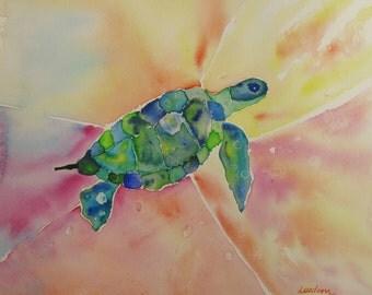 Turtle watercolor painting, Sea turtle original watercolor painting turtle watercolor turtle painting
