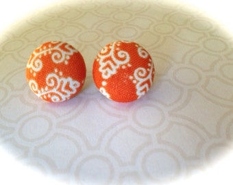 Orange and White Fabric Button Post Earrings