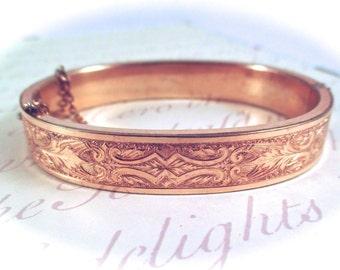 Antique Victorian GOLD BANGLE BRACELET Victorian Gold Filled Ornately Etched Style Hinged Bangle Bracelet