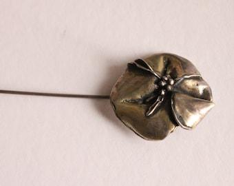 925 SILVER Flower VINTAGE BROOCH , Silver Hat Pin, Flower Brooch