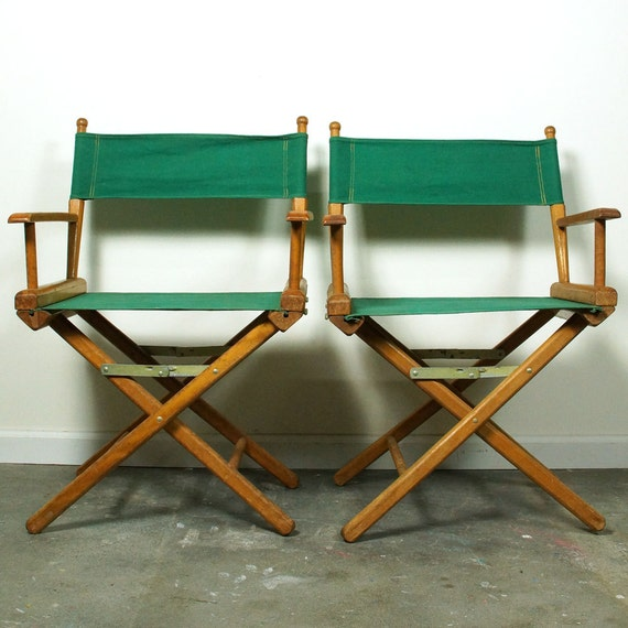Vintage Directors Chairs Set Of Two Rustic Folding Camp