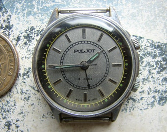 "Vintage Soviet wrist watch Poljot Kirova / wrist watch with ALARM Signal / Soviet ""POLJOT"" Vintage watch - working Serviced"