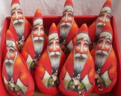 Collectible Scherer Folk Art Santa Claus Primitive Ornament Doll Cloth Christmas