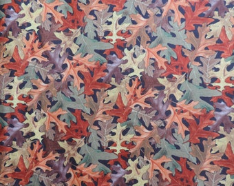 Oak leaf fabric in a variety of fall colors.