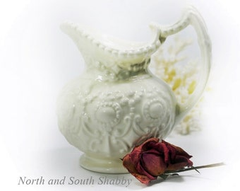 Small White Pitcher, Vintage Camark Pottery, Shabby Collectible