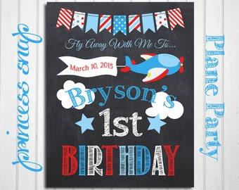 Airplane First Birthday Chalkboard Banner Poster - Pilot 1st Birthday Banner - Baby's First Birthday Poster - Boy or Girl