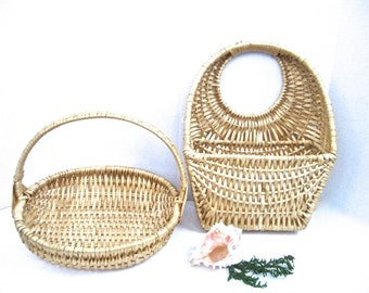 Set Vintage Bleached Wicker Handle Baskets x2 Coastal Cottage