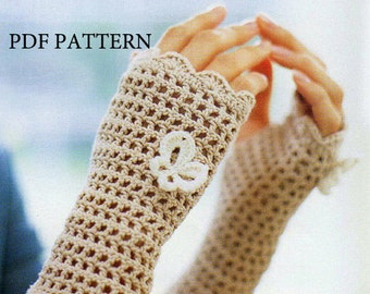 download pdf pattern of gloves,butterfly pattern,crochet Fingerless Gloves pattern