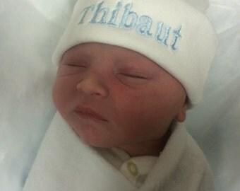 CUFF NEWBORN BEANIE Hat, Baby Blue, Boy Hospital Hat, Baby Hat, Name Reveal, Beenie, Hospital Beanie, Baby Boy Hat, Monogrammed Hat, Photo