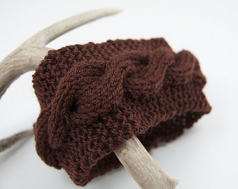 Brown Cable Knit Headband, Ear Warmer, Brown Women's Accessories
