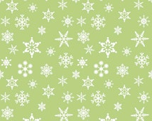 Green Christmas Holiday Snowflake Fabric - Riley Blake Designs  Christmas Winter Fabric 100% cotton c566 - By the 1/2 Yard