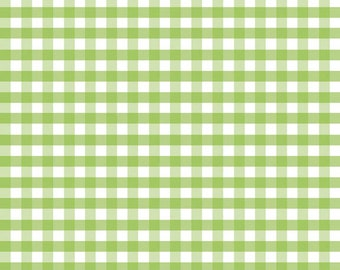 Green Gingham Fabric by Riley Blake Designs. Medium (1/4 inch.) Gingham.  100% cotton c450-30