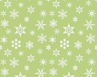 Green Christmas Holiday Snowflake Fabric - Riley Blake Designs  Christmas Winter Fabric 100% cotton c566
