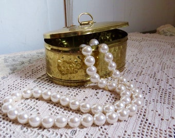 Vintage Brass Trinket Box Bedroom Vanity Home Decor Country Cottage Farmhouse