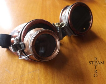 10% off sale17  copper steampunk goggles with loupe mad scientist - mad max cyber goggles burning man steampunk accessories