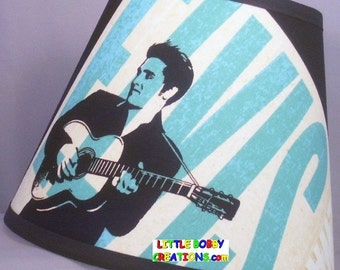 Music Elvis Presley Fabric Lamp Shade. You Choose the TRIM COLOR! (10 Sizes to Choose From!)