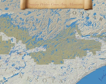 Boundary Waters Canoe Area Wilderness Map One of a Kind Print, If You Love the BWCA, Discover this world in Your Office or Home