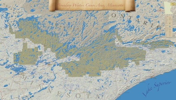 Boundary Waters Canoe Area Wilderness Map One Of A Kind Print - Bwca entry point map