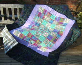 Scottish Patchwork Quilt, Sofa Throw, Eiderdown, Travel Blanket with Tartan and Paisley