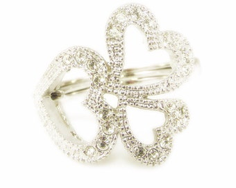 Three Heart Ring with Rhinestones - Adjustable Size 9-11.5