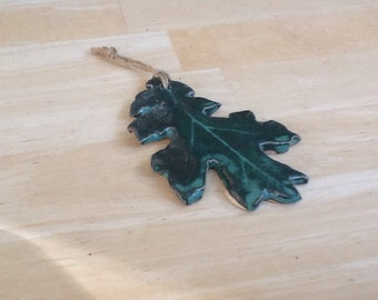 Pottery Oak Leaf Ornament- wall hanging- decoration