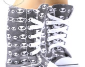 "Knee High Top Lace-Up Sneakers Boots Doll Shoes Nightmare before Christmas Jack Head Fabric Print for 18"" American Girl Dolls"