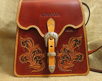 Antique vintage style leather bag tooled scroll victorian design