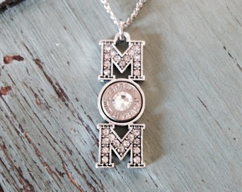 Silver Crystal MOM Bullet Pendant Necklace