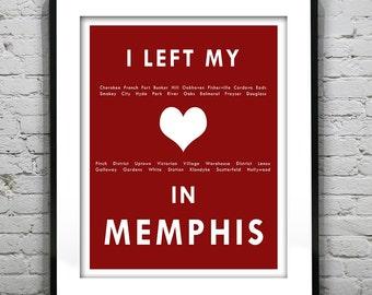 Memphis Tennessee - I Left My Heart In Memphis - Poster Art Print TN