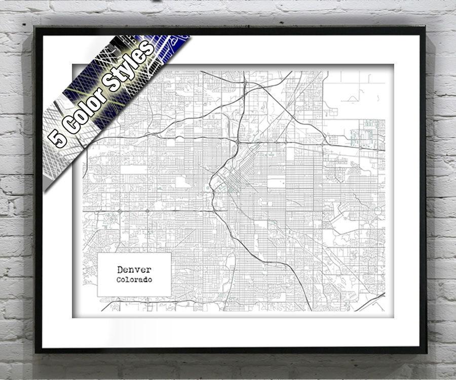 Denver Colorado Blueprint Map Poster Art Print Several Sizes