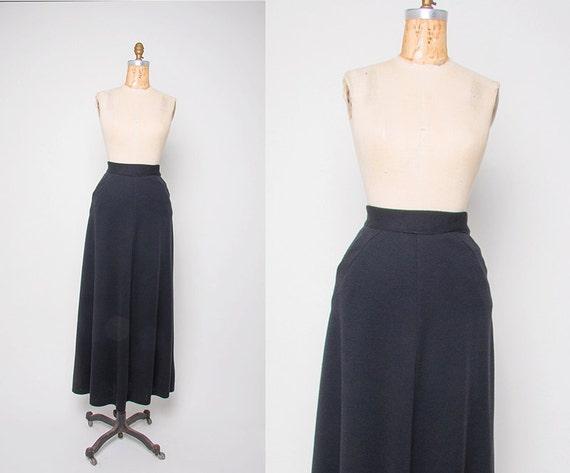 vintage 1970 s flowing black wool maxi skirt revival