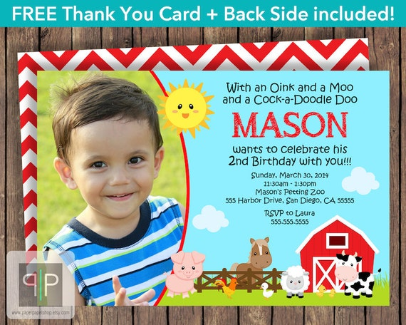Farm Animals Birthday Invitation Farm Birthday Photo Invitation