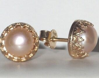 Freshwater pearl earrings apricot  peach pink rose- stud earrings - bridal earrings - vermeil - sterling silver -  pearl ring - vintage ring