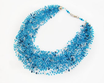 Beauty gift ideas for women Blue bead necklace Illusion chunky Bib necklace Floating jewelry Crochet bead Airy Luxuriant Multistrand Stretch