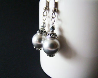 Coworker gift Ball earrings Grey pearls earrings Bridesmaid earrings Gatsby style earrings Mother's Day Gift Swarovski pearl Bridal earrings