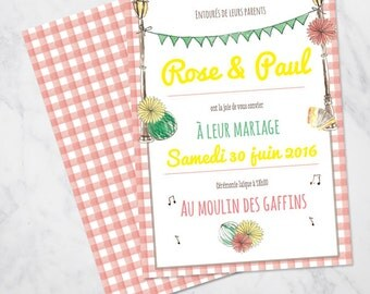 "Illustrated ""guinguette"" country wedding invitation Hand painted  SAMPLE"