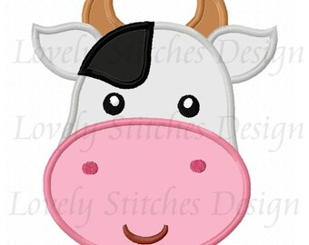Cow Face Applique Machine Embroidery Design NO:0271