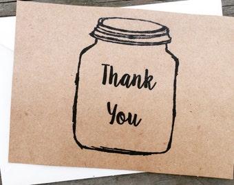 Rustic Kraft and black Mason Jar Thank you cards- 50