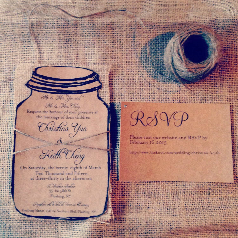 Wedding Invitations Mason Jar: Kraft Mason Jar Wedding Invitation With Natural Burlap And