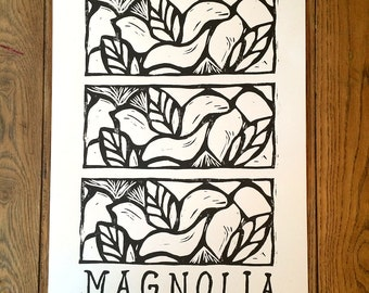 Magnolia Block Print Poster -- lettering, black and white, Mississippi State Flower