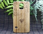 Lovers Case for Galaxy S6 Custom Bamboo Cover Tree Couple Love Heart Personalized Initials Wood Samsung Galaxy Phone Free Shipping