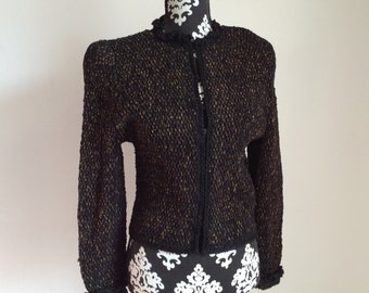 Vintage Black and Brown Fiber Art Knit Jacket