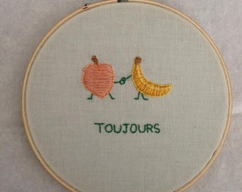 Hoop embroidery with French fruit