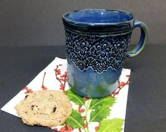 Amazing Blue Green Large Lace Ceramic Coffee Mug