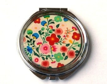 FLORAL MIRROR - colorful flowers - Pocket mirror - compact mirror - mirror - floral design - Flower Mirror - resin - accessories