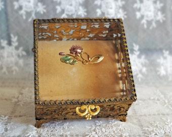 Antique Jewelry Casket  - Vintage Beveled Glass Ormolu Trinket Box - Waterlily Lotus Embellishment  - Dresser Box