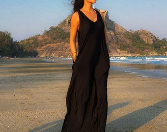 Navy blue Sleeveless long maxi dress all size