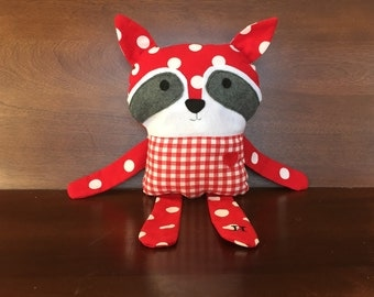 Romeo the Raccoon SweetHeart Collection - Plush Raccoon Red and White