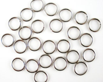 5mm, 6mm, 8mm, 10mm Iron Jump Rings, Antique Silver, Platinum, Unsoldered