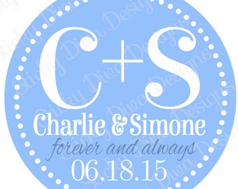 PERSONALIZED WEDDING STICKERS -  Gift Tag Wedding Monogrammed Labels - Round Gloss Labels